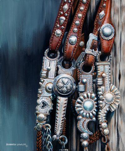 Silver Vaquero bits equestrian art print by Calgary Artist Shannon Lawlor