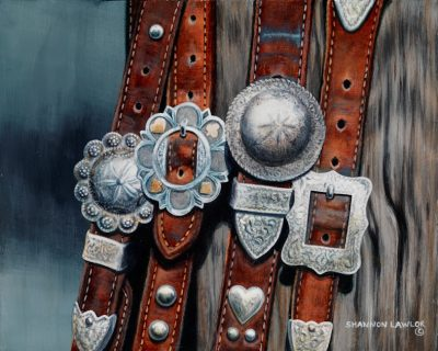 conchas on silver vaquero bridles equestrian art print by Calgary Artist Shannon Lawlor