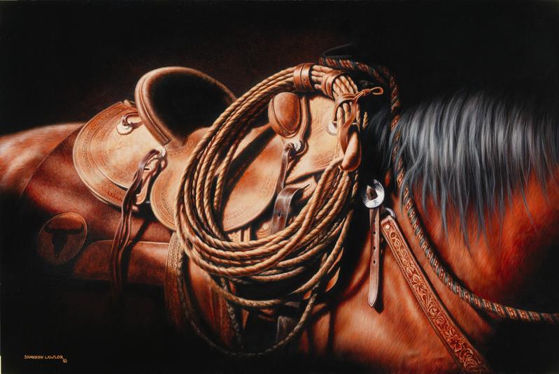 Bay Hackamore horse Vaquero equine art original painting by Calgary artist Shannon Lawlor