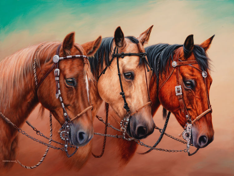 Amigos Commission Painting by Calgary equine artist Shannon Lawlor